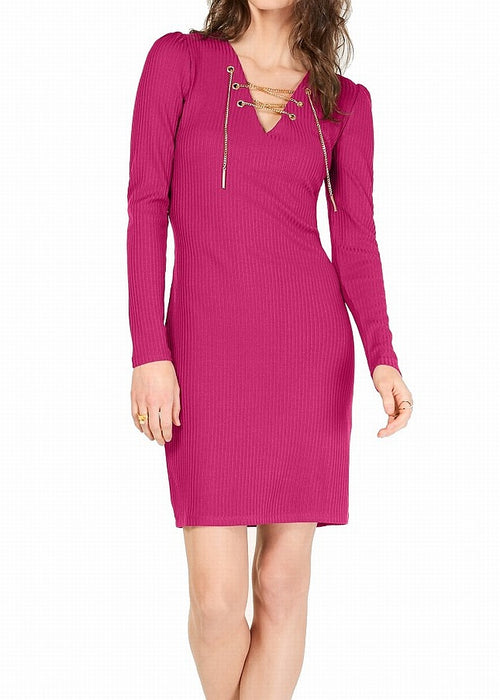 Michael Kors Women's Ribbed Lace-Up Sweater Dress Electric Pink L