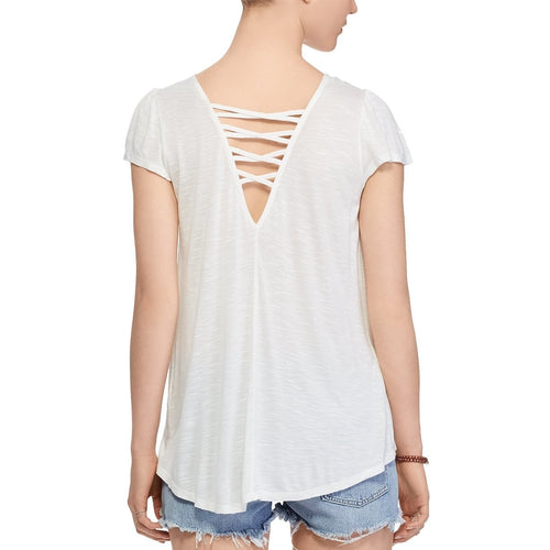Denim & Supply Ralph Lauren Lace-Up Jersey Top Cream S