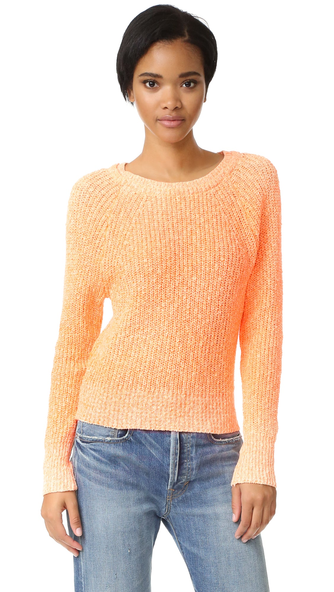 Free People Women's Electric City Pullover Long Sleeve Sweater Tangerine XS