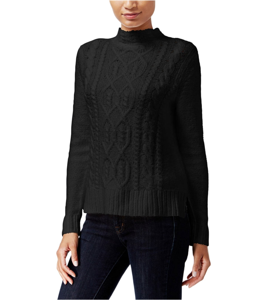 6e4c5875af5 kensie High-Low Cable-Knit Sweater Black M