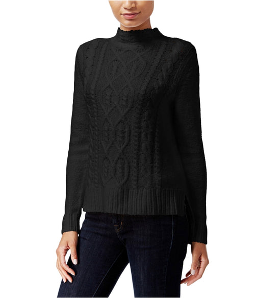 kensie High-Low Cable-Knit Sweater Black M