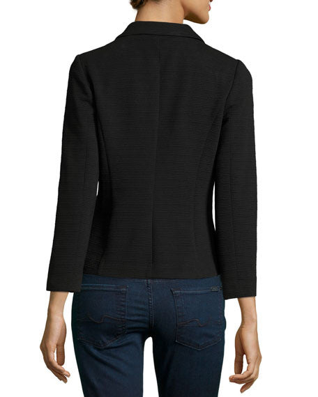 Kensie Long-Sleeve Ribbed Blazer Black XS
