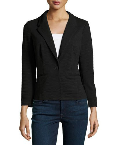 kensie Long-Sleeve Ribbed Blazer Black XL