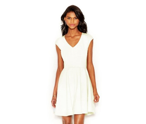 Bar III Cap-Sleeve Fit Flare Dress Bright White XXL