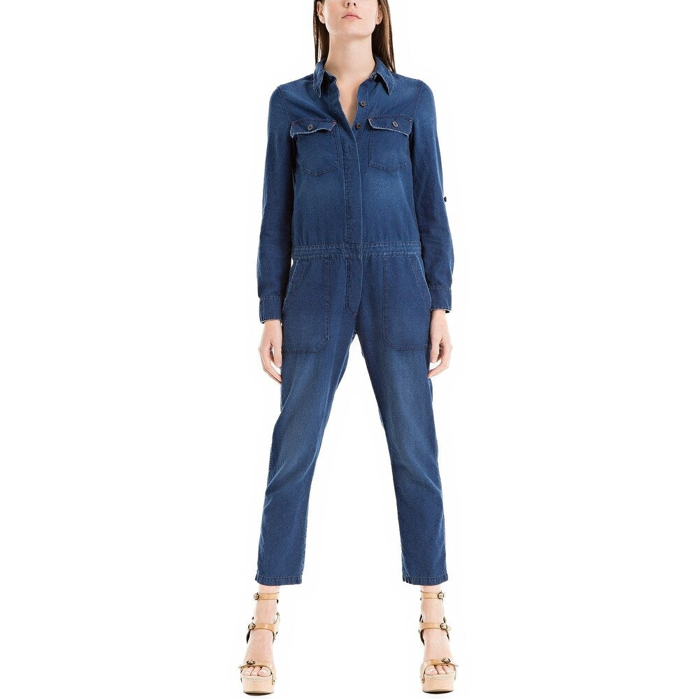 Max Studio Women's London Cotton Denim Jumpsuit Indigo XS