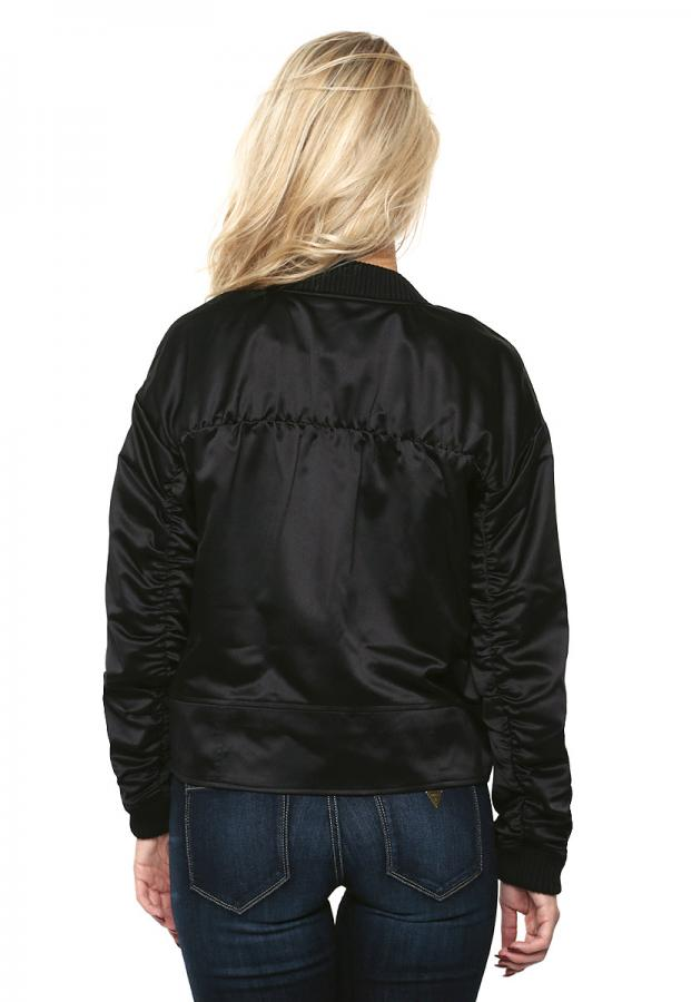 GUESS Astor Ruched Bomber Jacket Jet Black XL