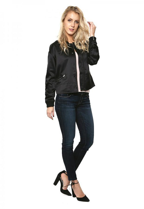 GUESS Astor Ruched Bomber Jacket Jet Black XL - Gear Relapse