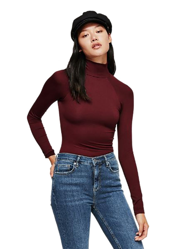 Free People Like I Do Cutout Turtleneck Top Wine M/L - Gear Relapse