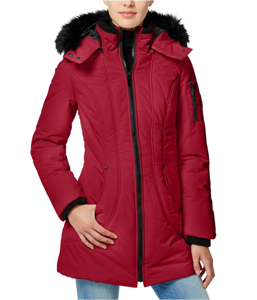 Wildflower Faux-Fur-Trim Hooded Puffer Coat Red M