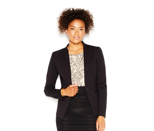 RACHEL Rachel Roy Women's Collarless Ponte Blazer Black L
