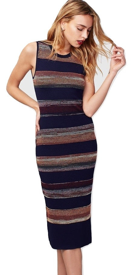 RACHEL Rachel Roy Striped Midi Sweater Dress Navy Combo S