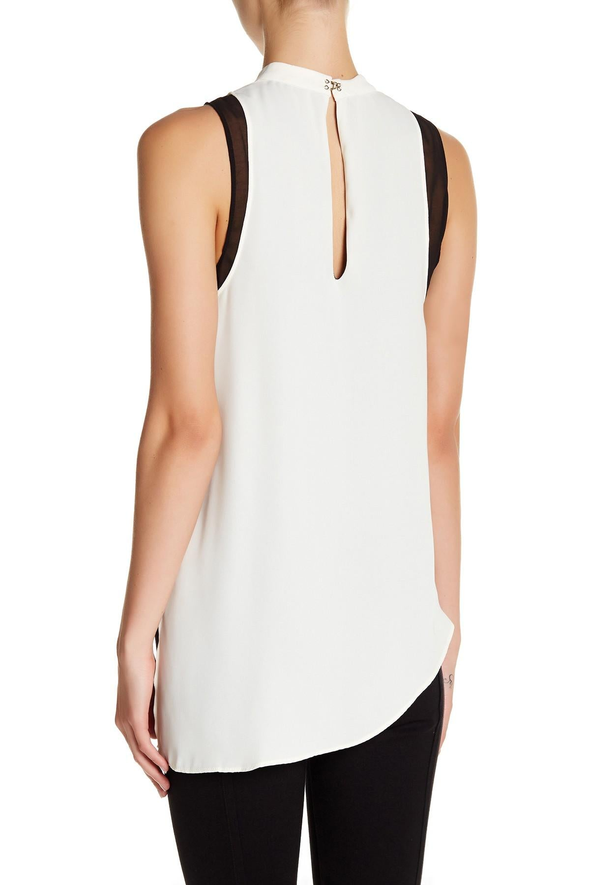 RACHEL Rachel Roy Asymmetrical Colorblocked Top Canvas M