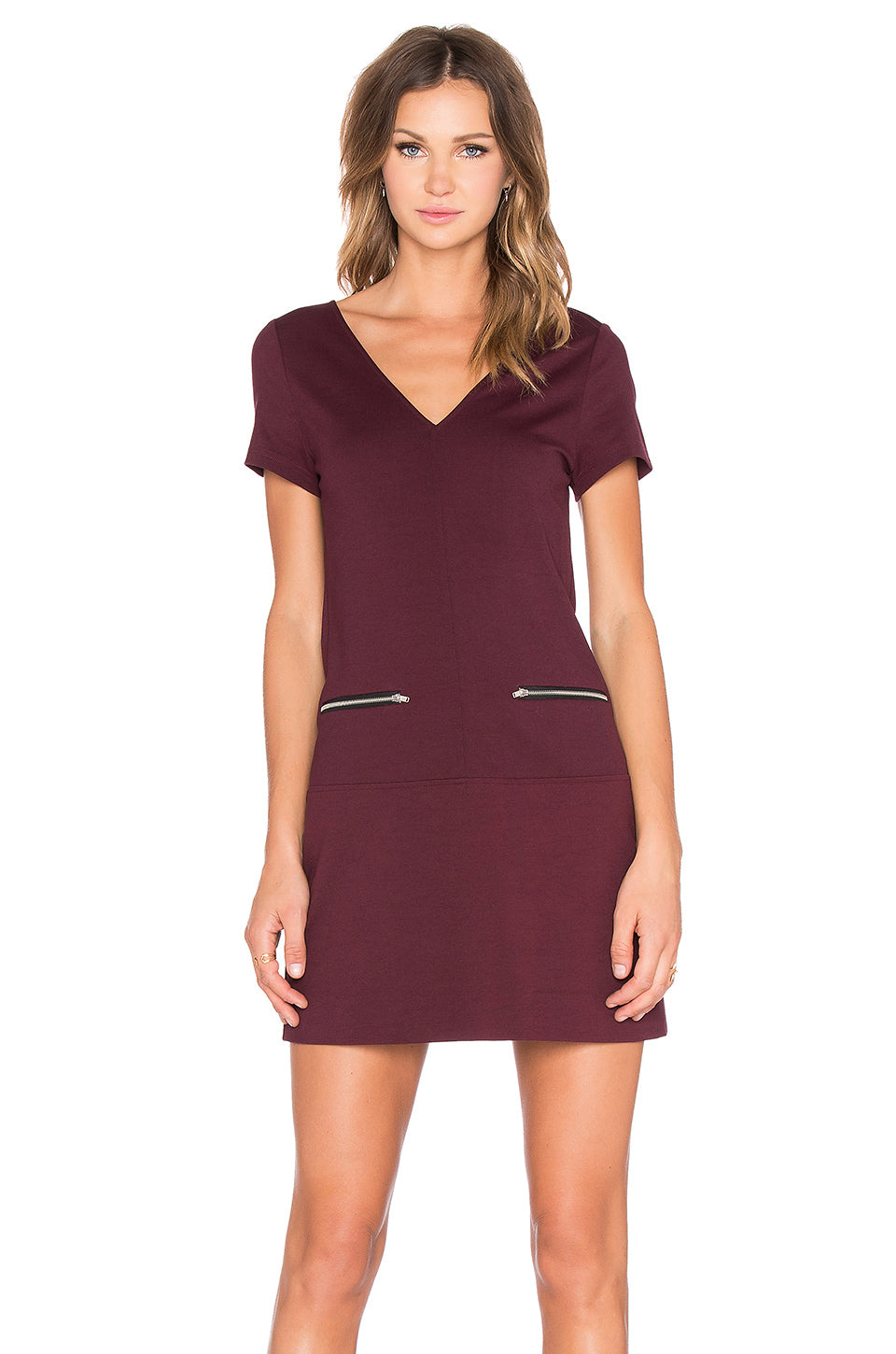 Sanctuary Women's V-Neck Short Sleeve Mini Dress Mulberry XL