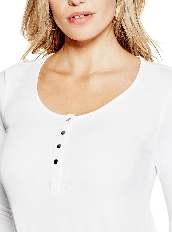 GUESS Alinda Banded Henley Top True White XL - Gear Relapse