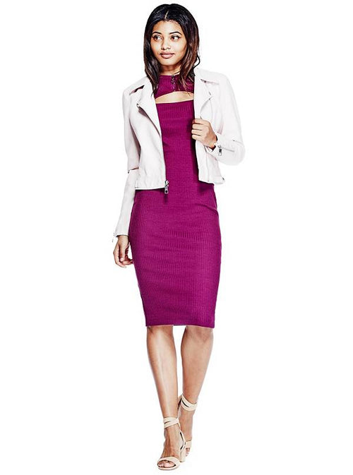 GUESS Women's Front-Cutout Bodycon Dress Dark Purple M