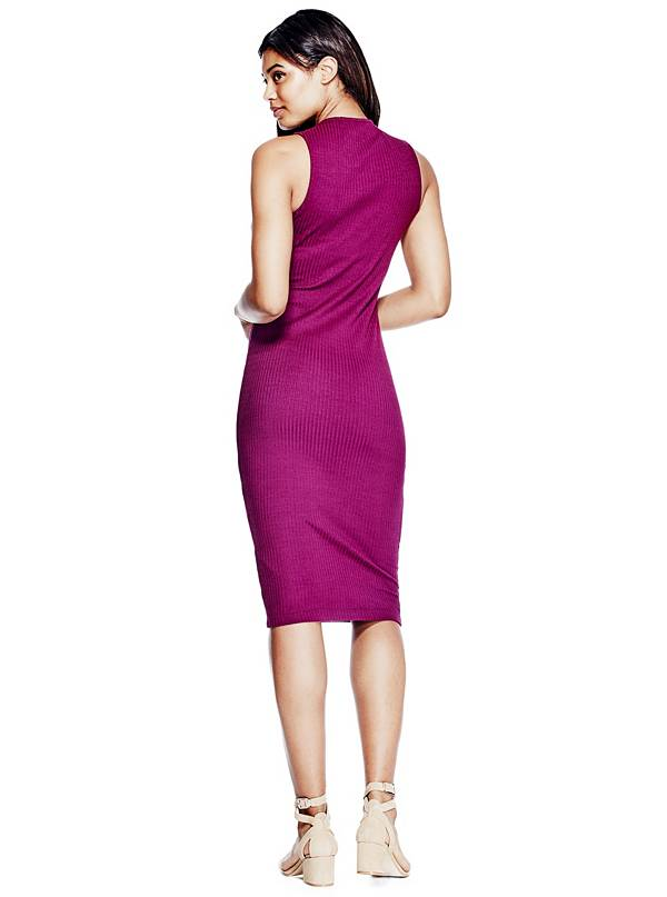 GUESS Front-Cutout Bodycon Dress Dark Purple M