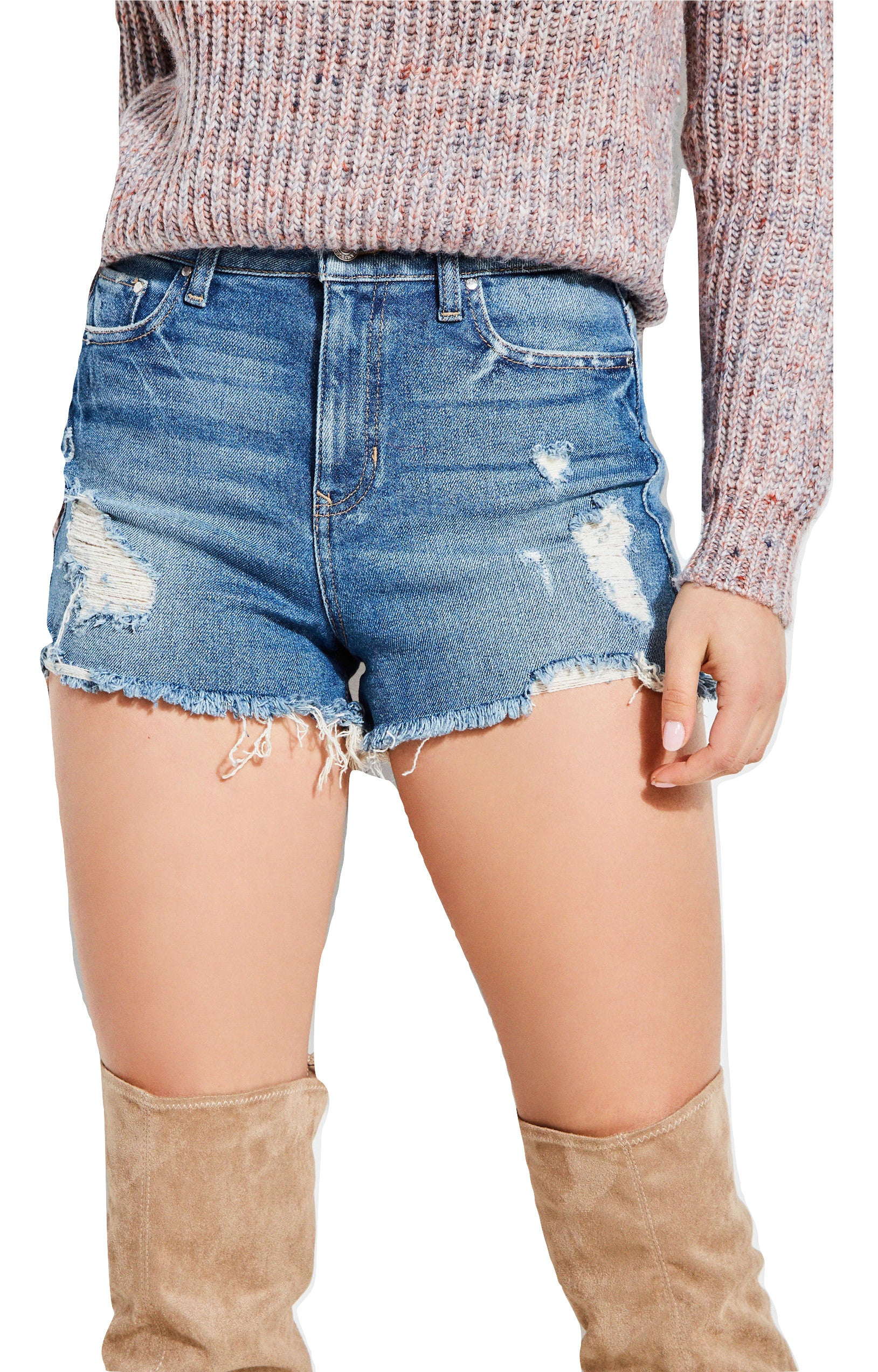 Guess Claudia High-Rise Denim Shorts Doheny Blue Wash - Gear Relapse