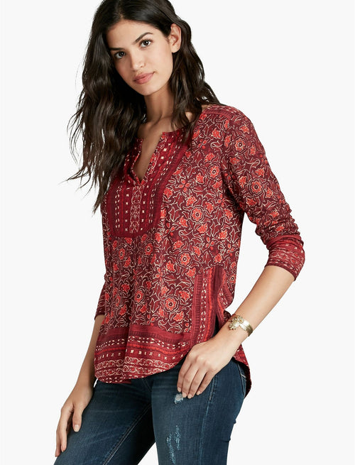 Lucky Brand Women's Mixed-Print Floral Peasant Top Red Multi S