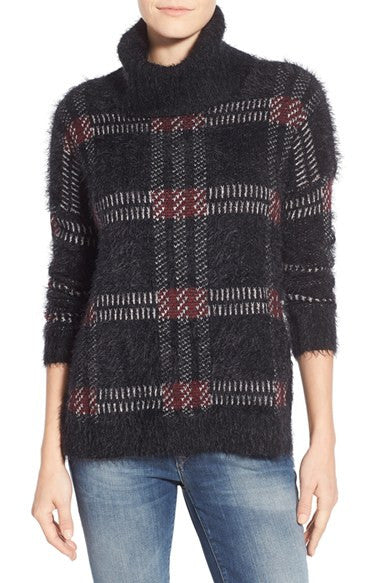 Sanctuary Women's Plaid Cowl Neck Sweater Mulberry XS