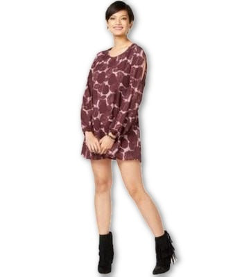 Bar III Long-Sleeve Printed Shift Dress Misty Lavender Combo XS - Gear Relapse