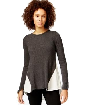 Rachel Roy Long Sleeve High-Low Contrast Sweater Gray Combo