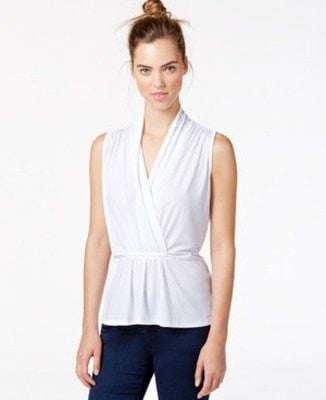 Bar III Sleeveless Peplum Top White XXS - Gear Relapse