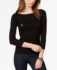 GUESS Three-Quarter-Sleeve Sequin Scuffy Sweater