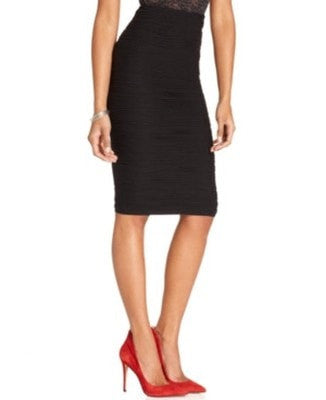 Bar III Textured Pintuck Pleat Pencil Skirt Black M - Gear Relapse