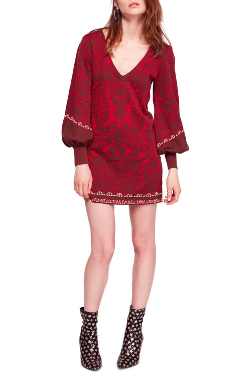 Free People Musics Lyrics Printed Mini Dress Red Combo - Gear Relapse