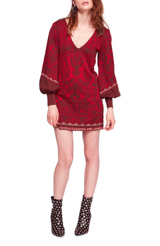 GUESS Women's Floral-Print Wrap Dress Hyper Bloom Print Pinot Noir XL