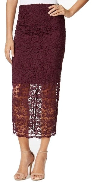 Bar III Crochet Lace Midi Skirt Vintage Wine XS - Gear Relapse