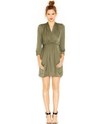 Bar III Long-Sleeve Surplice-Neck Solid Shirtdress XS - Gear Relapse