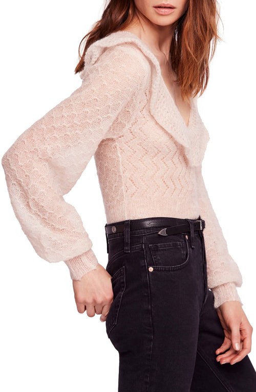 Free People Macaroon Ruffled-Neck Sweater Ivory L - Gear Relapse