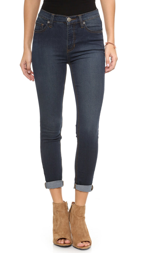 Free People Women's Roller Skinny Crop Jeans Cane Wash Blue 27