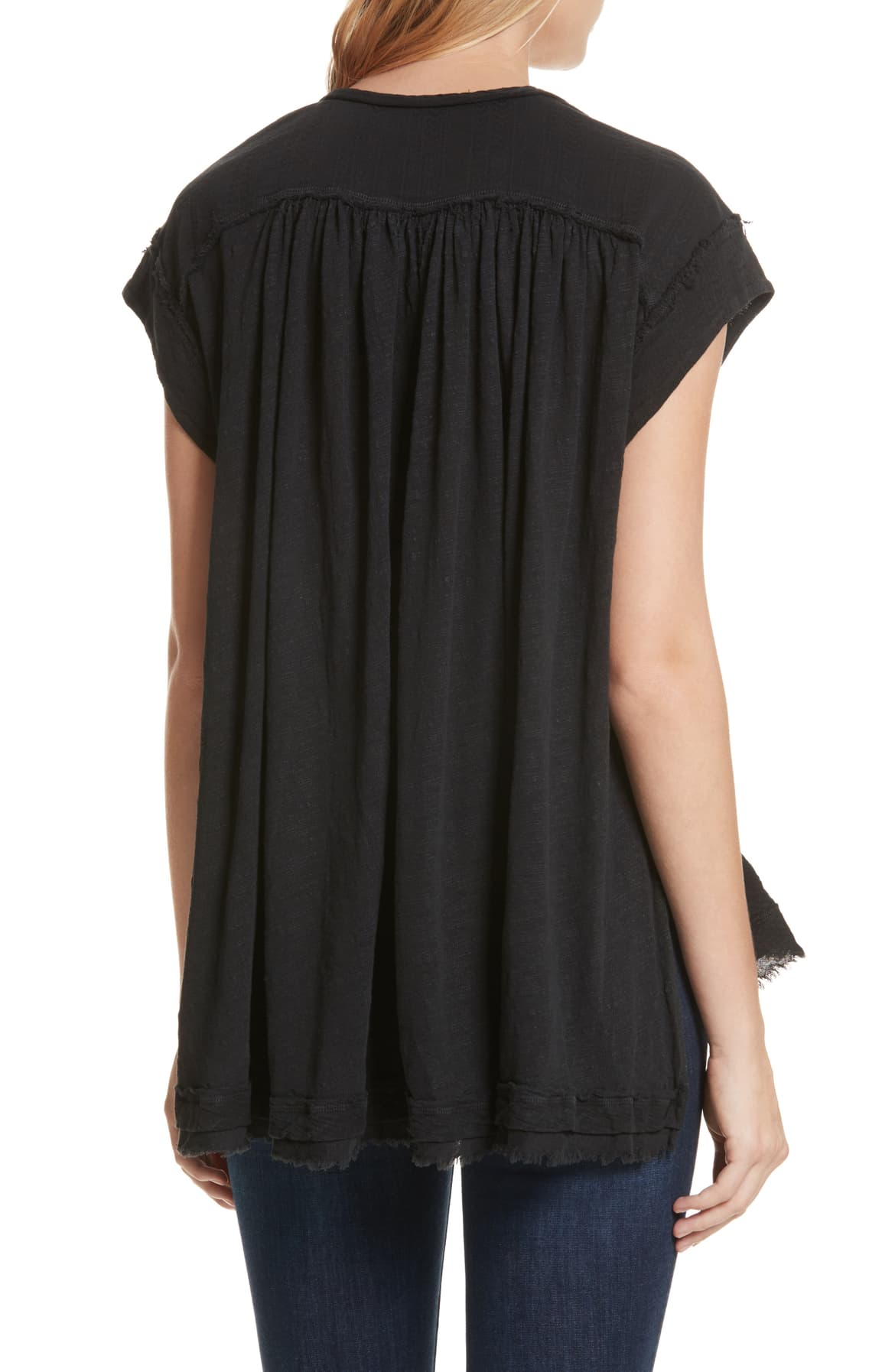 Free People Juniors Aster High-Low Henley Top Black - Gear Relapse
