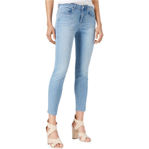 Maison Jules Embroidered Women's Skinny Ankle Jeans Medium Blue Wash 14