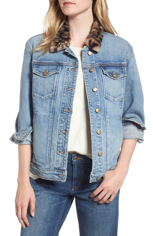 Joe's Women's Kamryn Faux-Fur-Collar Denim Jacket Light Blue