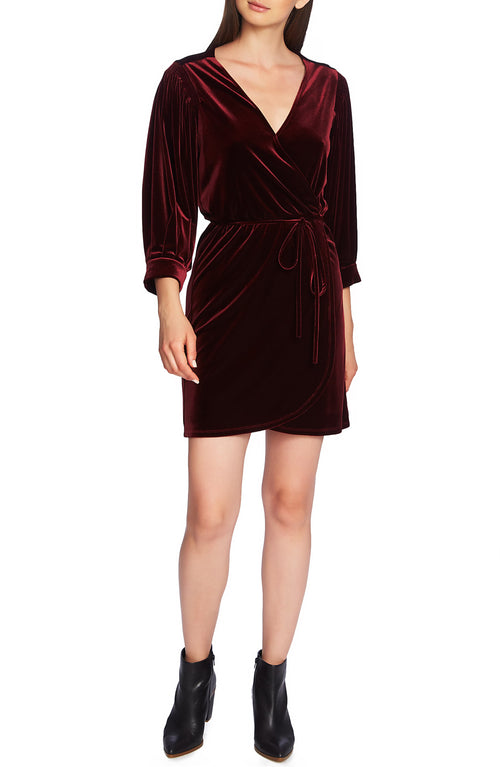 1.STATE Velvet Wrap Dress Dark Oxblood Velvet XS