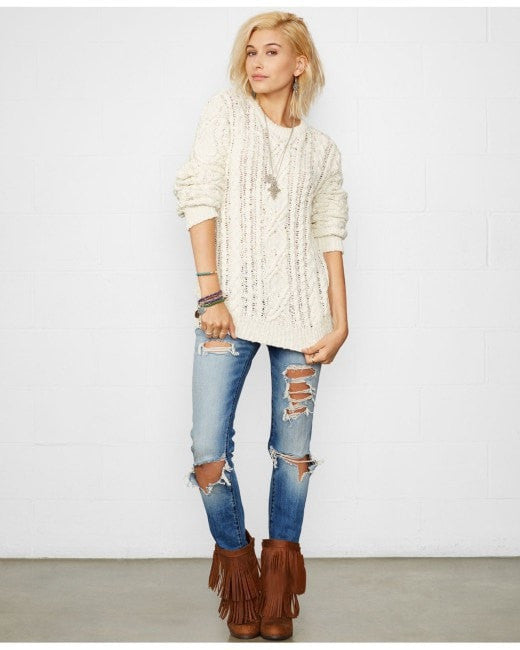 Denim & Supply Ralph Lauren Distressed Cable-Knit Sweater Black M - Gear Relapse