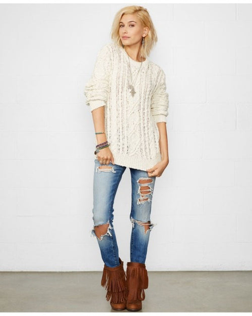 Denim & Supply Ralph Lauren Distressed Cable-Knit Sweater