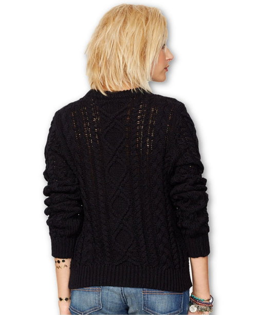 Denim & Supply Ralph Lauren Distressed Cable-Knit Sweater Black M