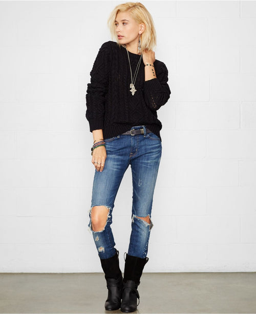 Denim & Supply Ralph Lauren Distressed Cable-Knit Sweater - Gear Relapse