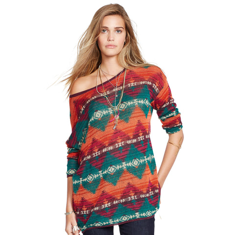 Denim & Supply Ralph Lauren Relaxed Geometric Sweater Orange Multi