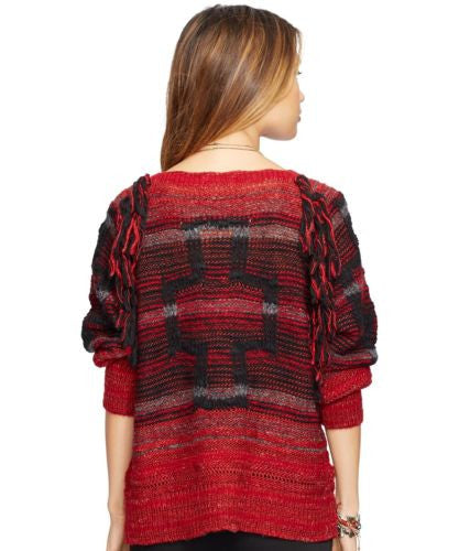 Denim & Supply Ralph Lauren Raglan Pullover Red Multi L