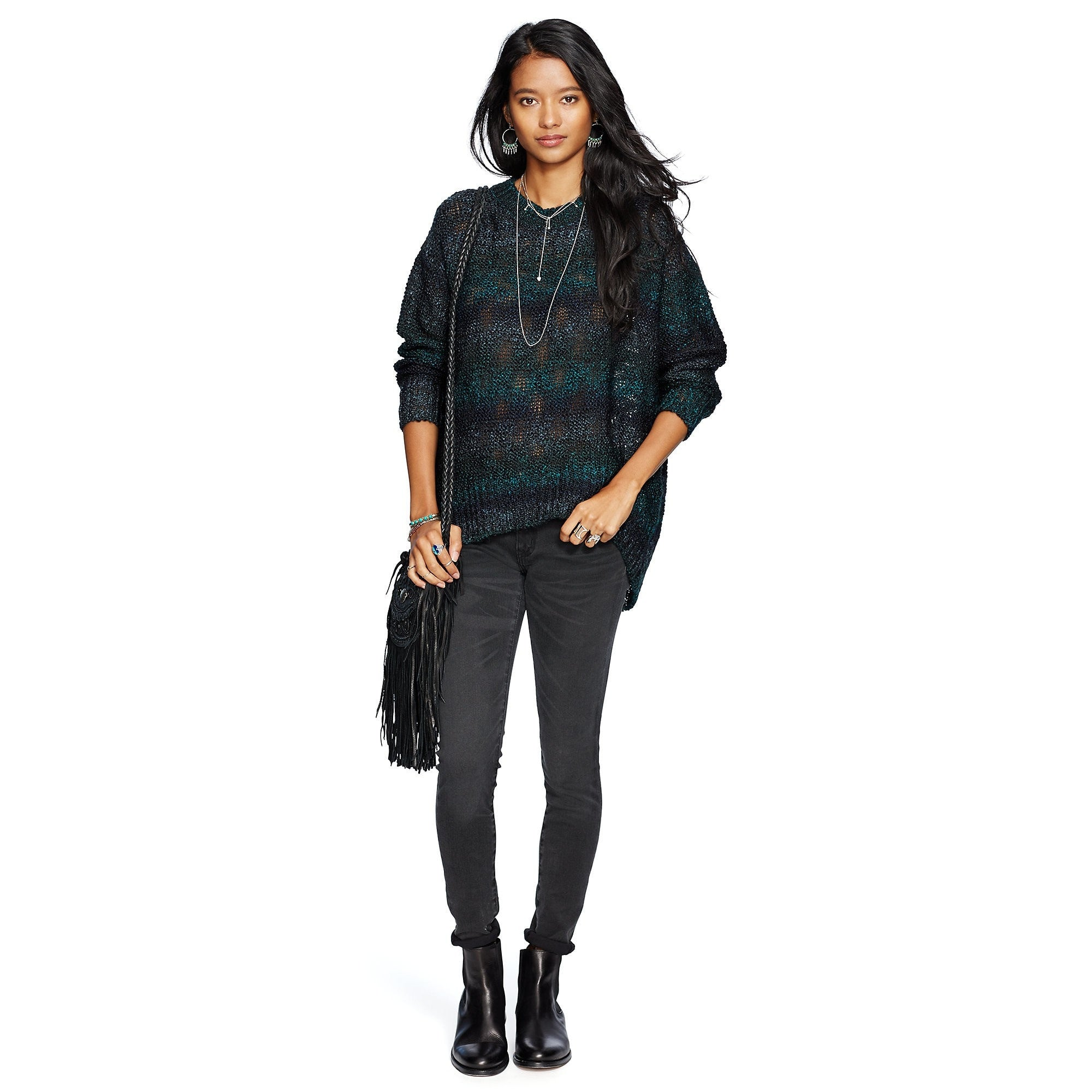 Denim & Supply Ralph Lauren High-Low-Hem Sweater Teal Multi XS