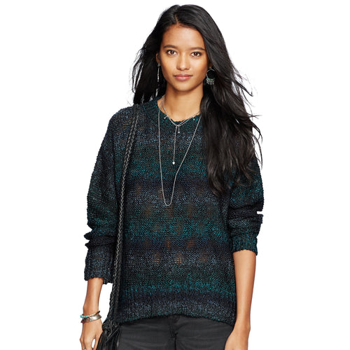 Denim Supply Ralph Lauren High-Low-Hem Sweater Teal Multi XS - Gear Relapse