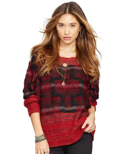 Denim & Supply Ralph Lauren Raglan Pullover Red Multi L - Gear Relapse