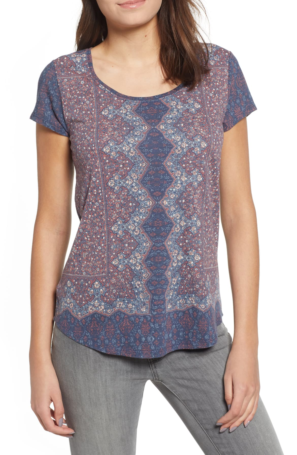 Lucky Brand All Over Print Tee Size XS Navy Top NEW