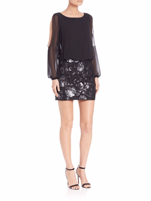 Aidan Mattox Sequined Blouson Dress Black 4 - Gear Relapse