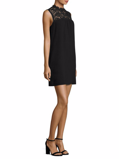 Theory Women's Aronella Lace-Yoke Crepe Dress Black